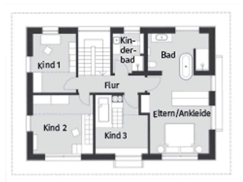 Grundriss Obergeschoss Entwurf Heimat 4.0 von Baufritz