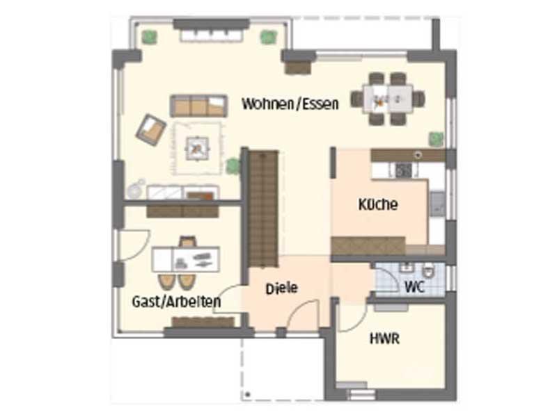 Grundriss Erdgeschoss Medley 3.0 Fellbach von Fingerhaus