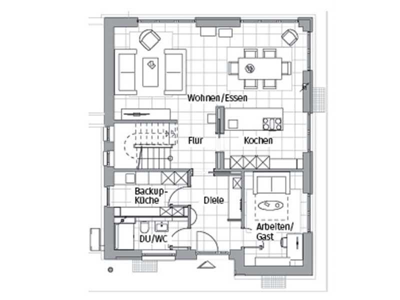 Grundriss Erdgeschoss Edition 600 Wohnidee-Haus von Viebrockhaus