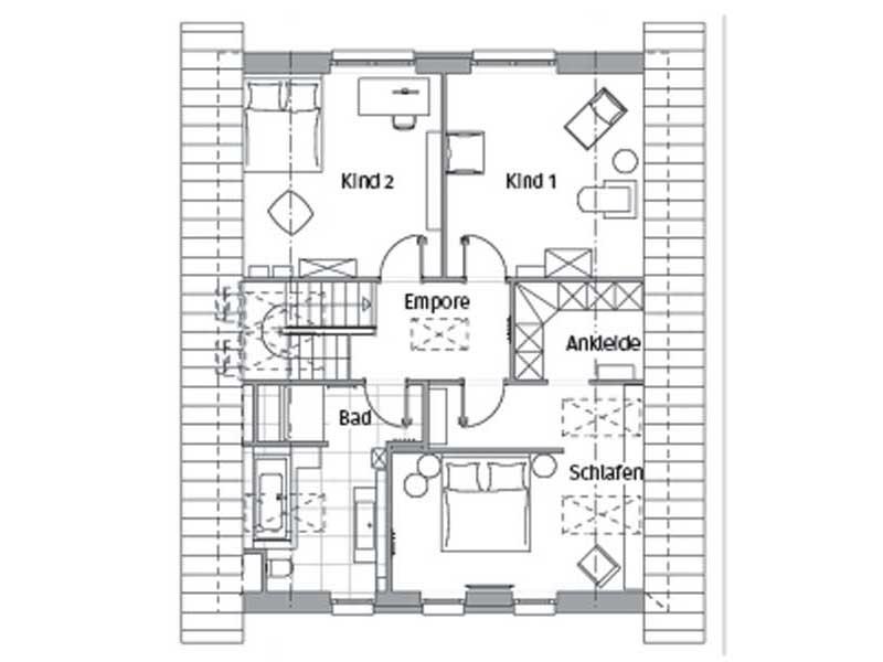 Grundriss Obergeschoss Edition 600 Wohnidee-Haus von Viebrockhaus