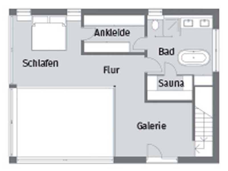 Grundriss Obergeschoss Oekodesignhaus von Baufritz
