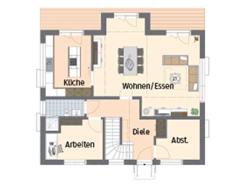 Grundriss Erdgeschoss Familienhaus mit Stil von Fingerhaus