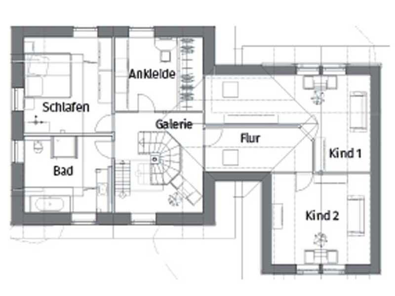 Grundriss Obergeschoss Haus Paula von Christianus