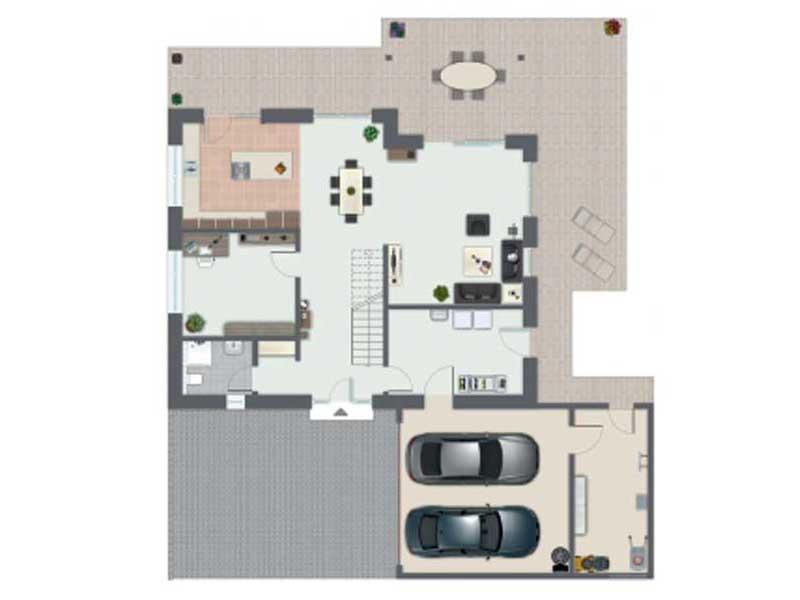 Grundriss Erdgeschoss Kundenhaus Baggio von Gussek
