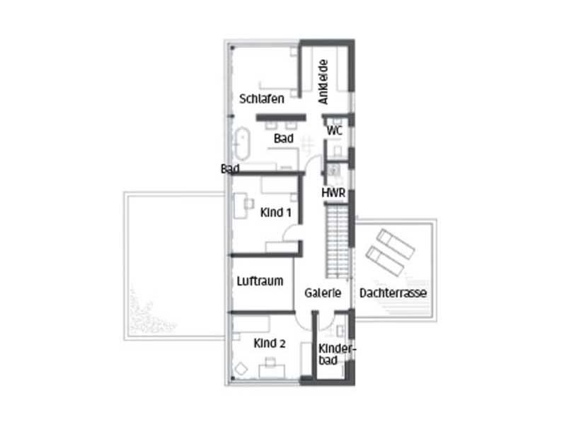 Grundriss Obergeschoss Modell Core von Luxhaus