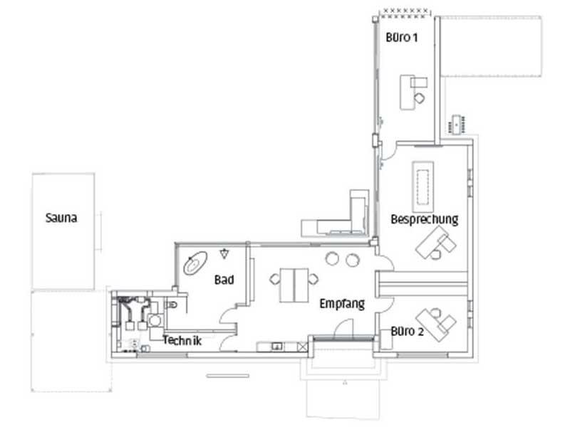 Grundriss Bungalow Flachdach 170 von Luxhaus