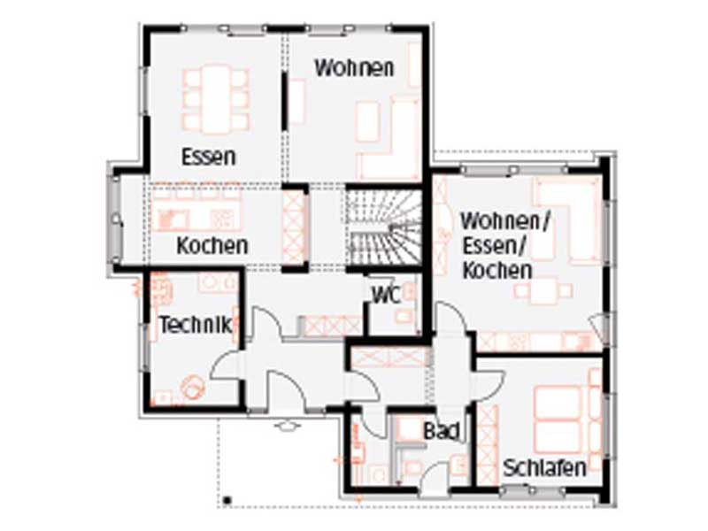 Grundriss Erdgeschoss Musterhaus Langenhagen von Okal