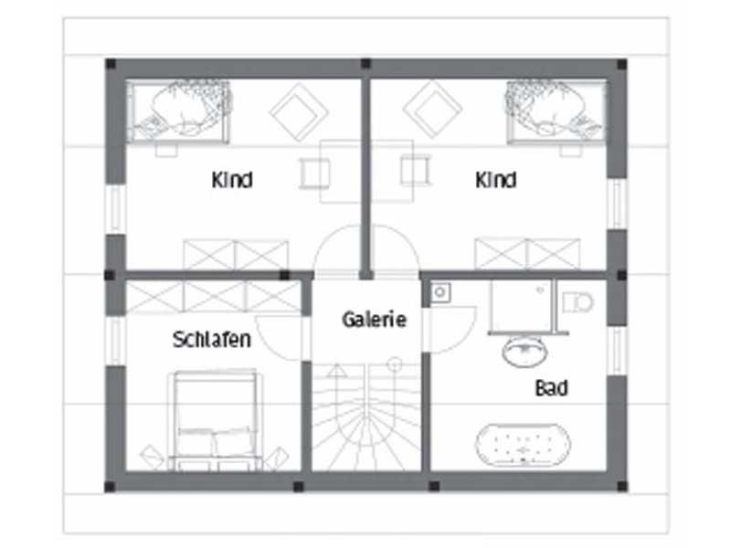 Grundriss Obergeschoss Entwurf Pro Natura Kompakt von Vöma