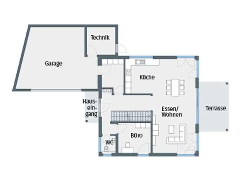 Grundriss Erdgeschoss Entwurf Citylife 400 von WeberHaus