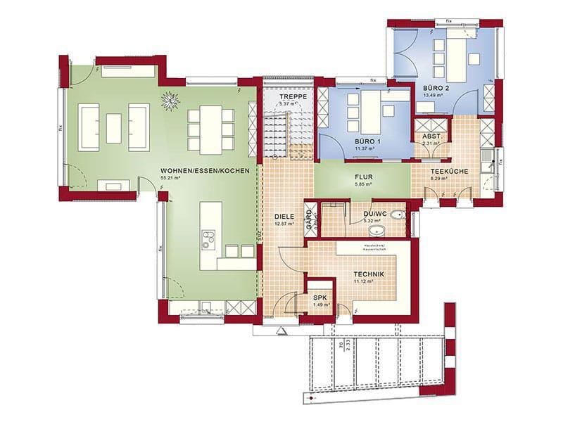 Grundriss Erdgeschoss Entwurf Concept-M 154 von Bien-Zenker
