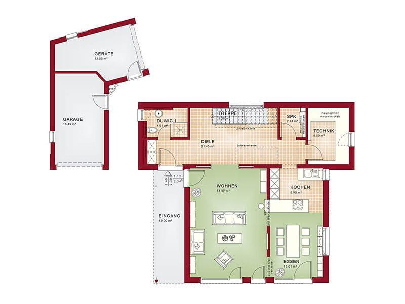 Grundriss Erdgeschoss Entwurf Concept-M 198 von Bien-Zenker