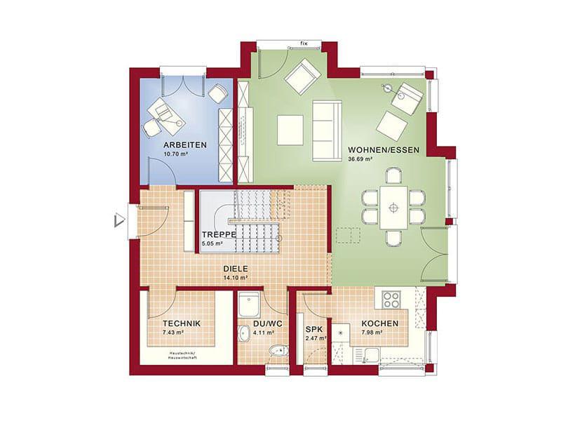 Erdgeschoss Fantastic 161 V4 (Grundriss: Bien-Zenker)