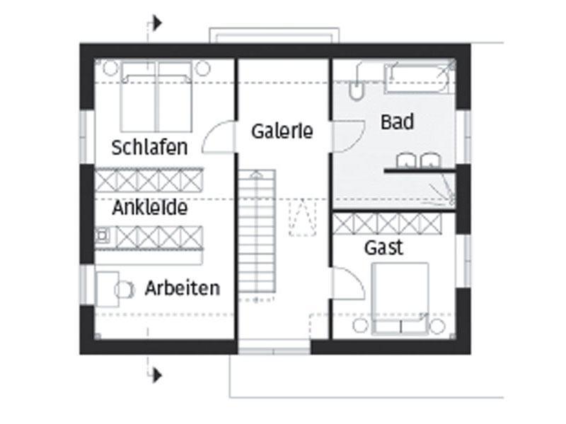 Grundriss Obergeschoss Hausserie Pfiffige von Arge Haus