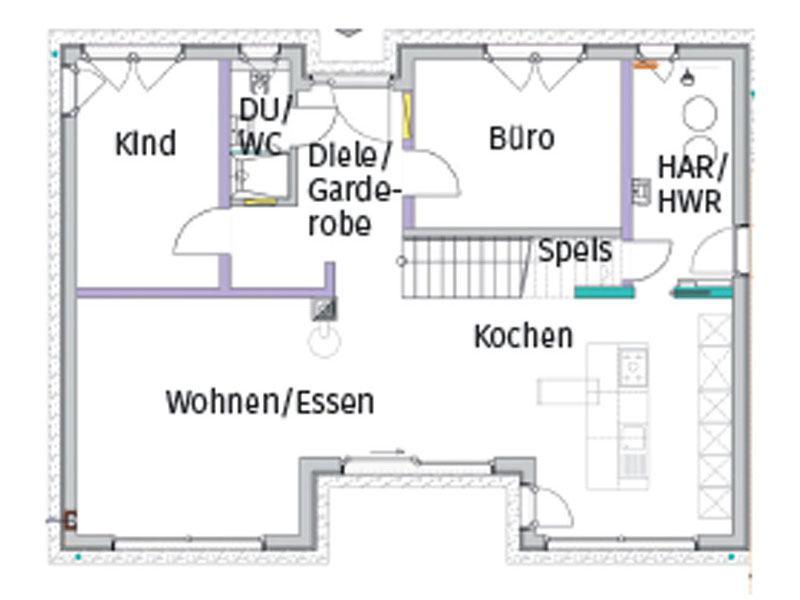 Grundriss Erdgeschoss individueller Entwurf Siemon von Bittermann und Weiss