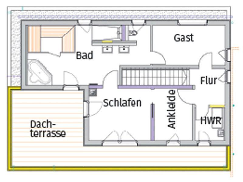 Grundriss Obergeschoss individueller Entwurf Siemon von Bittermann und Weiss