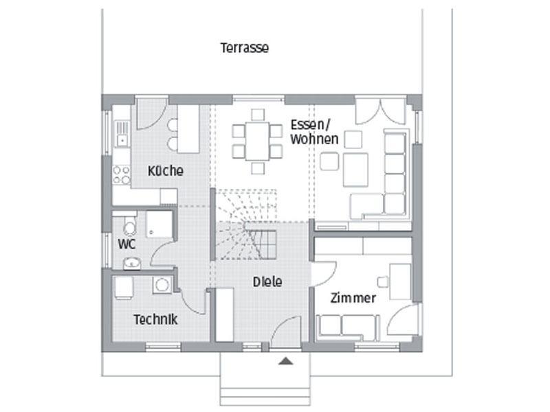 Grundriss Erdgeschoss Entwurf Park 151.3W von DAN-WOOD House