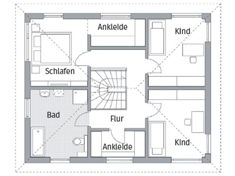 Grundriss Obergeschoss Entwurf Park 151.3W von DAN-WOOD House