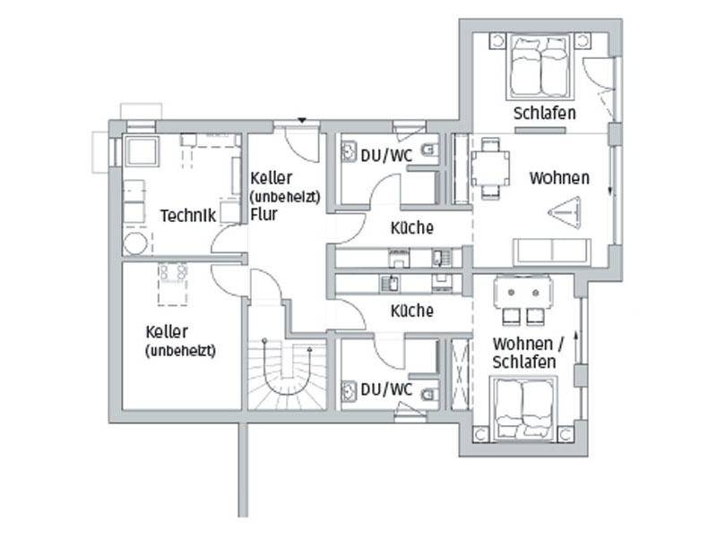 Grundriss Erdgeschoss Entwurf Seegarten von Fischerhaus