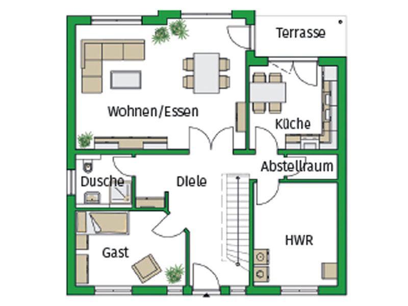 Grundriss Erdgeschoss Musterhaus Florenz von Helma