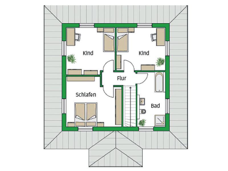 Grundriss Obergeschoss Musterhaus Florenz von Helma