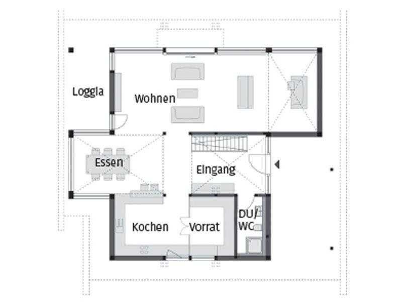 Grundriss Erdgeschoss Art 3 SOV von Huf Haus