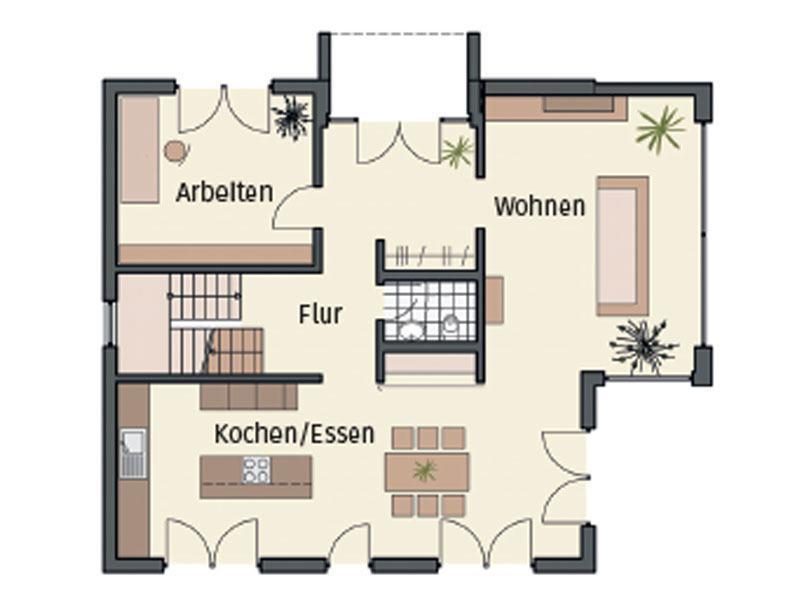 Grundriss Erdgeschoss von Musterhaus Mannheim von Keitel Haus