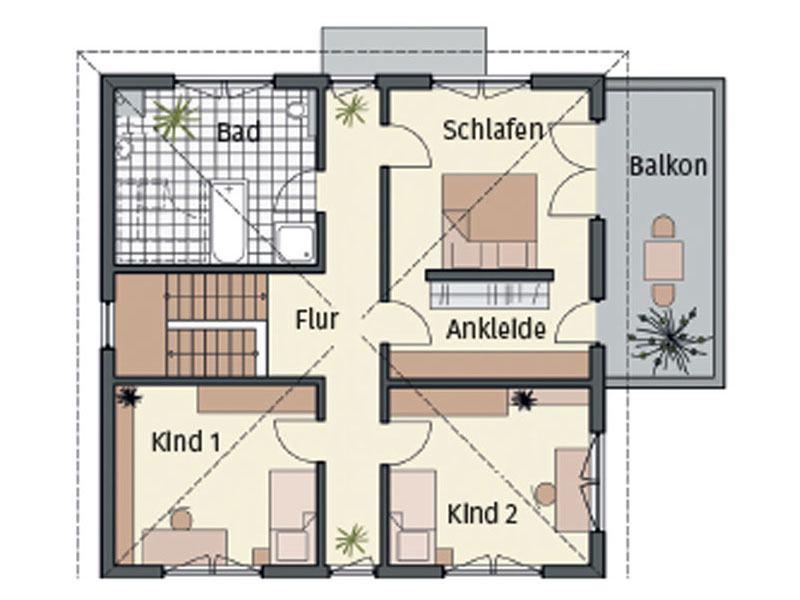 Grundriss Obergeschoss von Musterhaus Mannheim von Keitel Haus