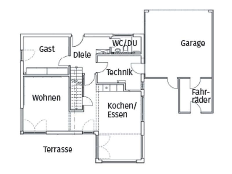 Grundriss Erdgeschoss Homestory 496 von Lehner Haus
