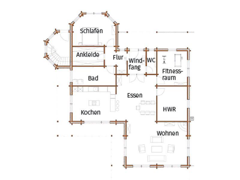 Grundriss Erdgeschoss Haus Kohake von Nordic Haus