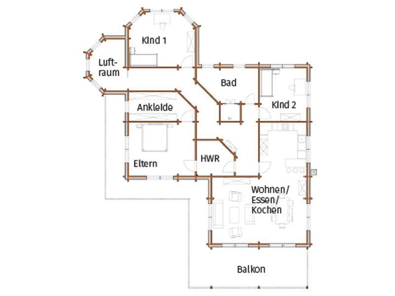 Grundriss Obergeschoss Haus Kohake von Nordic Haus