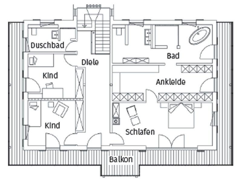 Grundriss Obergeschoss Haus Alois von Regnauer