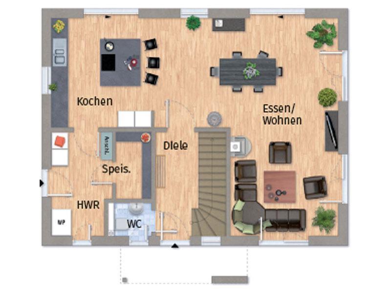 Grundriss Erdgeschoss VarioCity 150 von Varioself