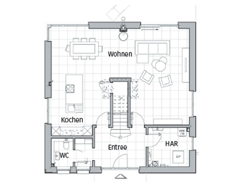 Grundriss Erdgeschoss Entwurf Maxime 800 von Viebrockhaus