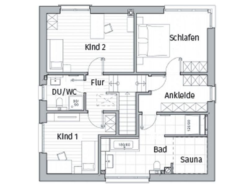 Grundriss Obergeschoss Entwurf Maxime 800 von Viebrockhaus
