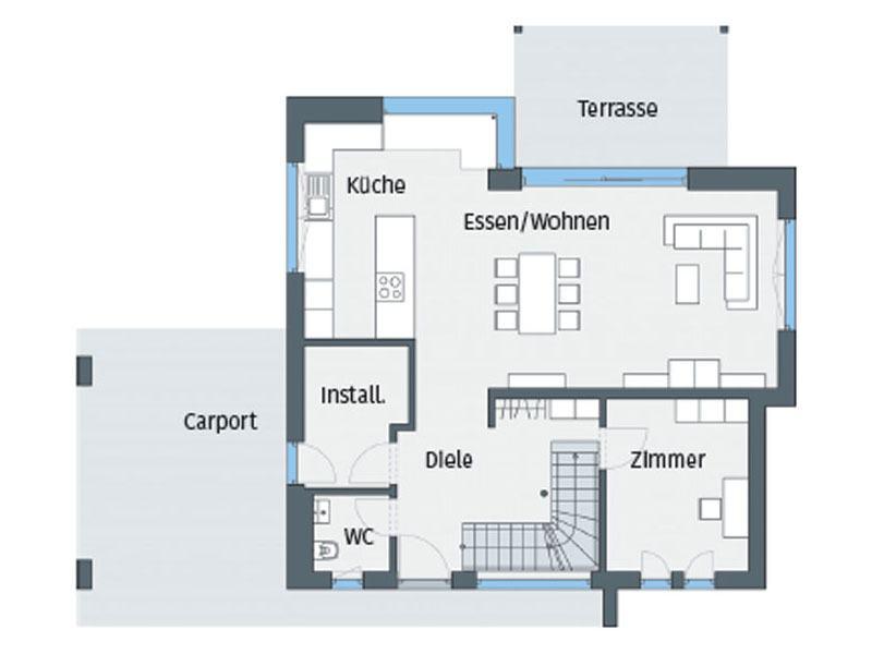 Grundriss Erdgeschoss Haus Wenden von WeberHaus