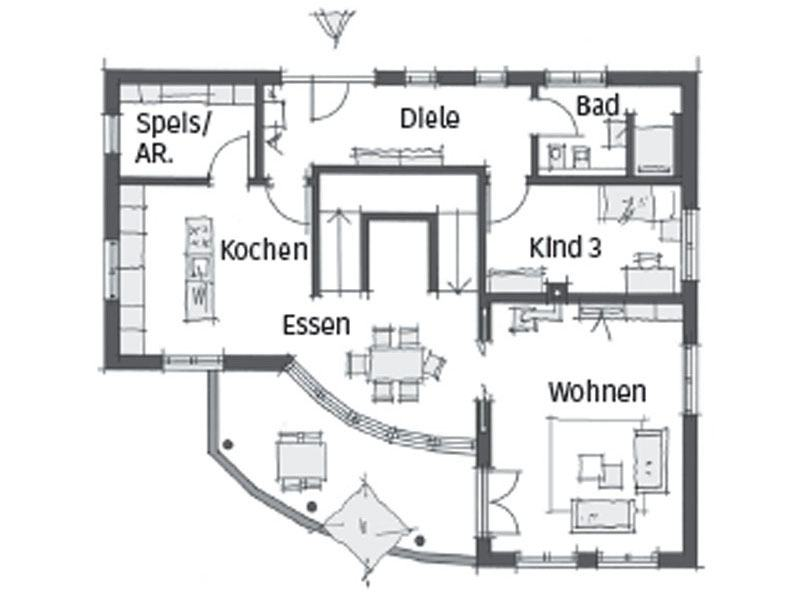 Grundriss Erdgeschoss Haus Schwaebische Alb von Wolf System