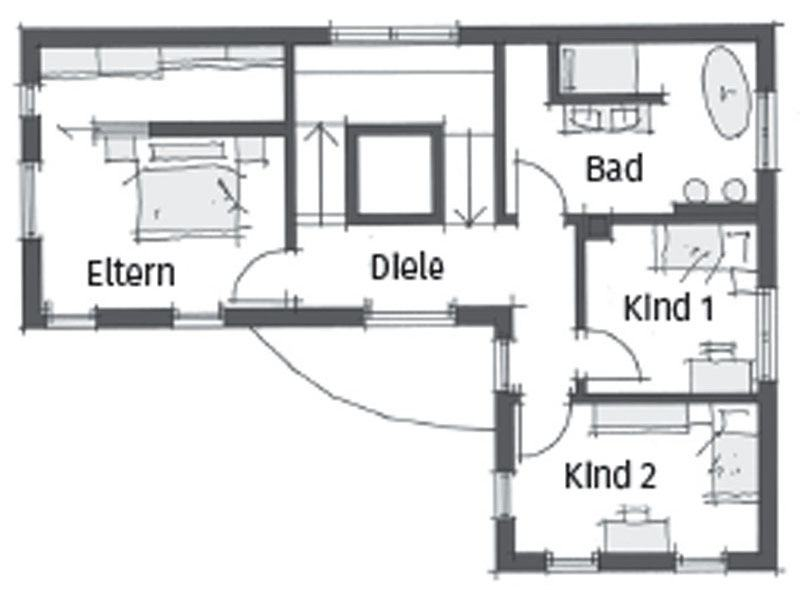 Grundriss Obergeschoss Haus Schwaebische Alb von Wolf System