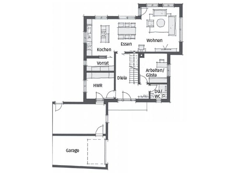 Grundriss Erdgeschoss individuelle Planung Passau von Wolf System