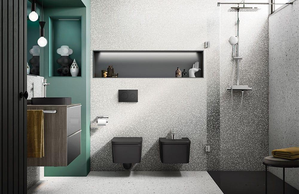 schwarze Sanitärobjekte (Hersteller: Roca).