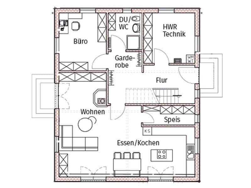 Grundriss Erdgeschoss Entwurf Regensburg von Chiemgauer Holzhaus