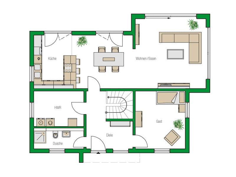 Grundriss Erdgeschoss Entwurf Colmar von Helma