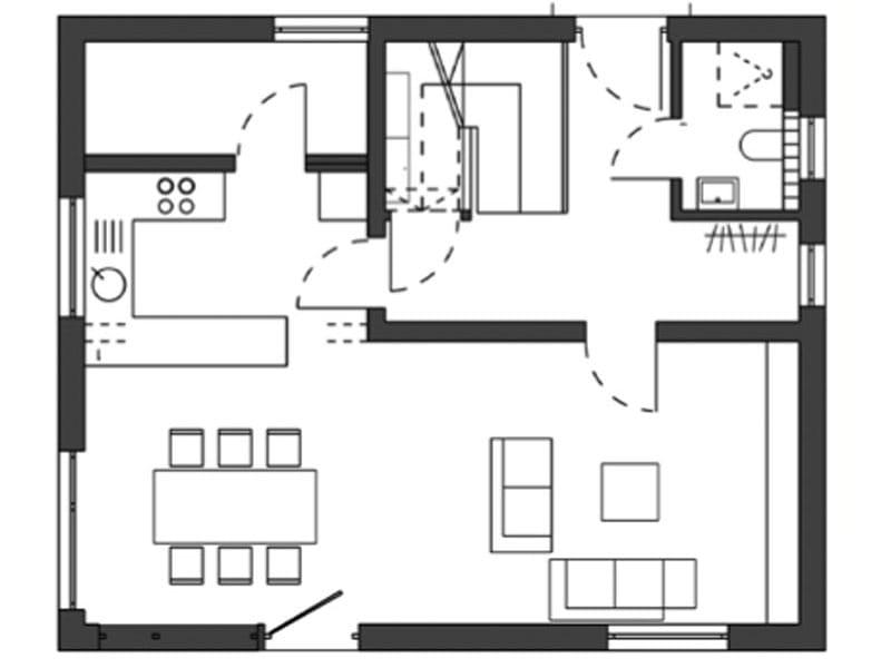 Grundriss Erdgeschoss Bauhausentwurf von Schwörerhaus