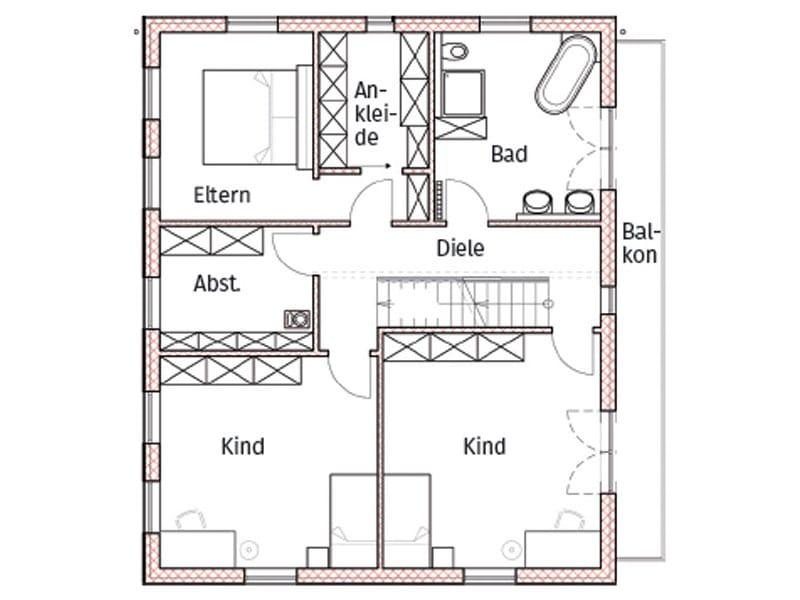 Grundriss Obergeschoss Entwurf Regensburg von Chiemgauer Holzhaus