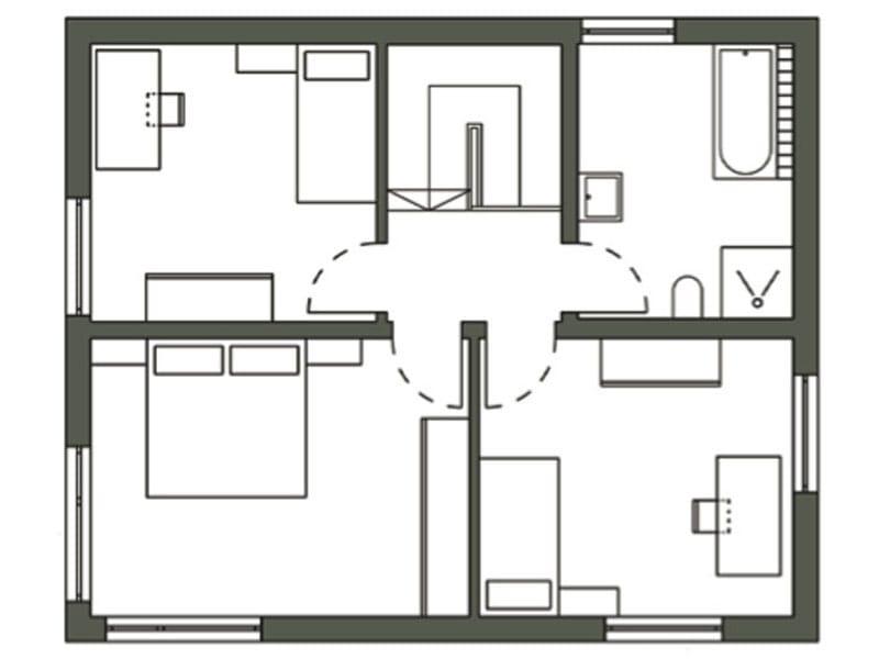 Grundriss Obergeschoss Bauhausentwurf von Schwörerhaus