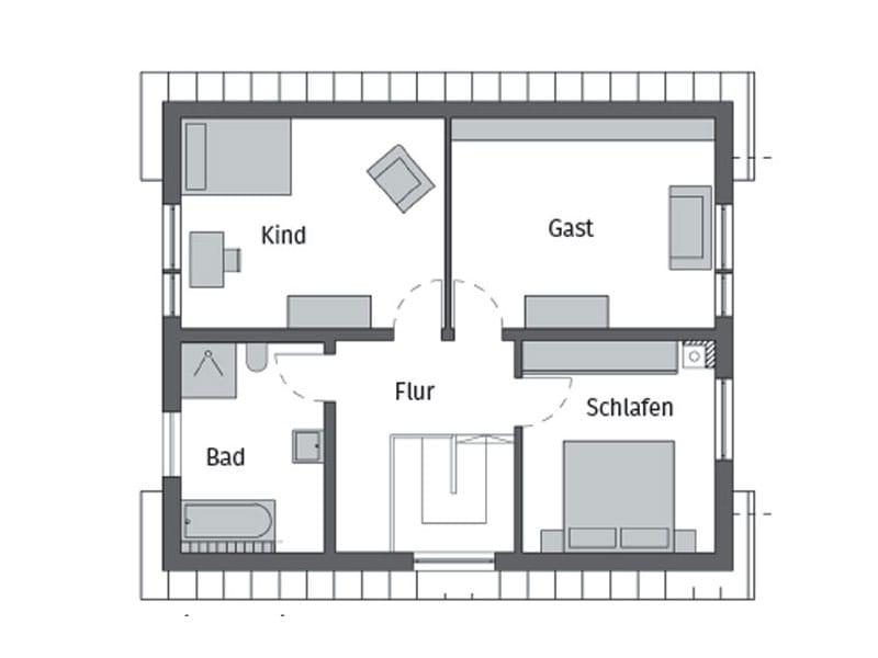 Grundriss Obergeschoss Entwurf E15-143.26 von Schwörerhaus