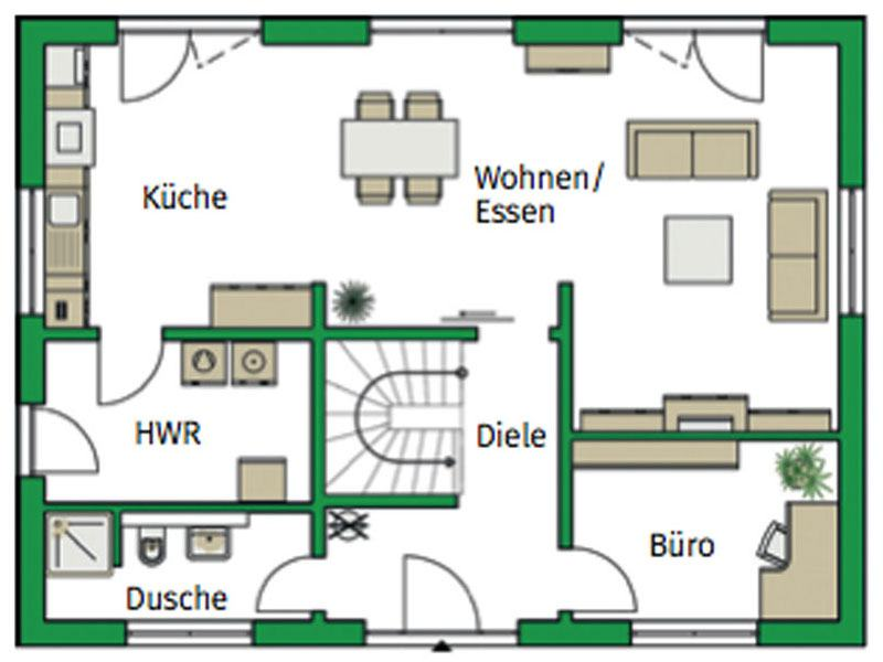 Grundriss Erdgeschoss Entwurf Trient von Helma