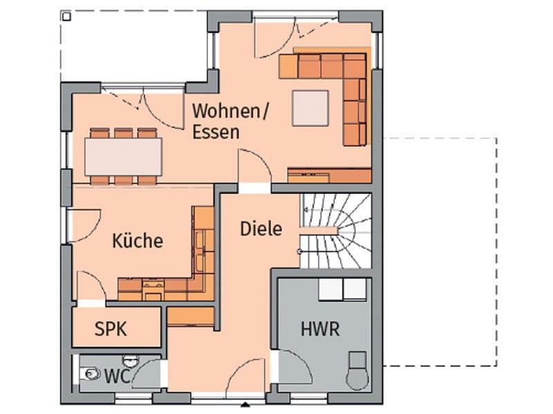 Beispiel 1: Kern-Haus hat in der Stadtvilla Fino eine Speisekammer neben dem Kochbereich platziert.