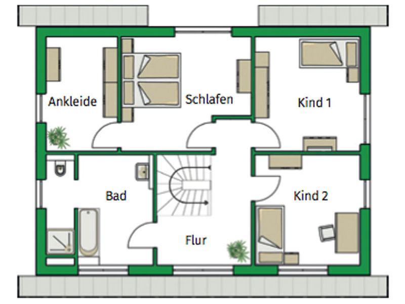 Grundriss Obergeschoss Entwurf Trient von Helma
