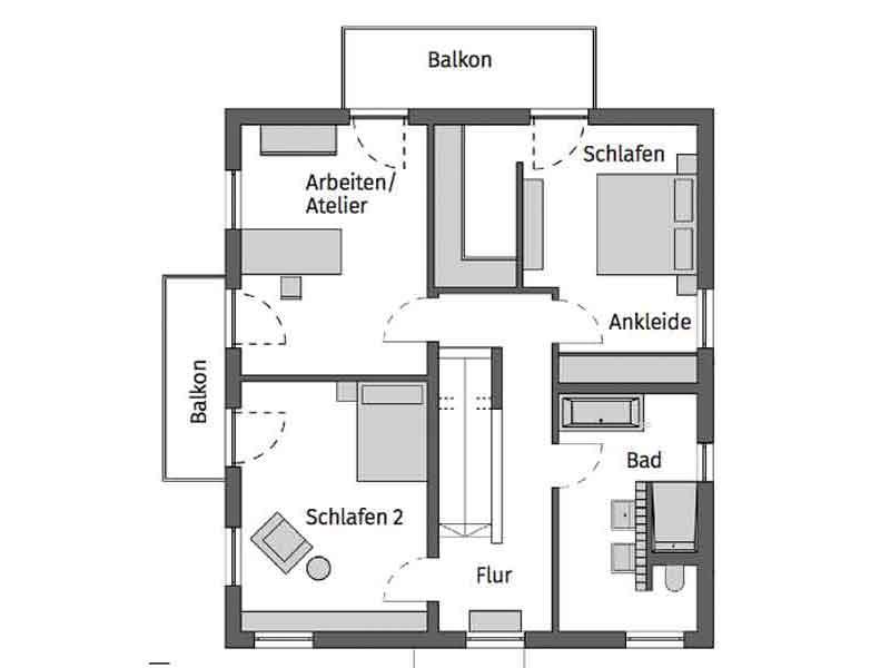 Grundriss Obergeschoss KH Fiedler von Schwoerer