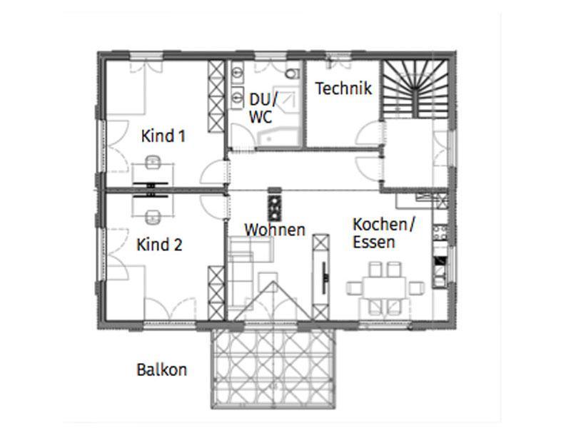 Grundriss Obergeschoss Entwurf Innsbruck von Chiemgauer Holzhaus